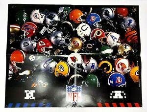 "Vintage 1995 NFl Teams Helmet Poster 17"" x 22"" Mitchell Burr"