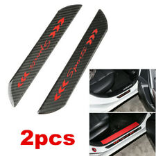 2X Red Real Carbon Fiber Door Scuff Sill Cover Panel Step Protector For Car SUV