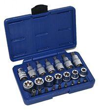 """TX SET-23 1/2"""" Torx Socket Set 23pc Tool Bits E Type Male Female STAR T Drive"""