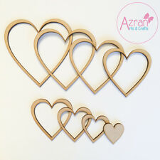 Wooden MDF Hearts Shape Cut Outs 3mm Garland and Hanging Decoration - Set Of 8