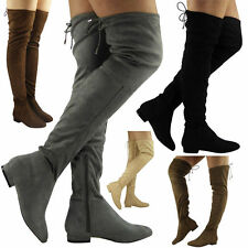 Womens Ladies Thigh High Over The Knee Low Heel Lace Up Slouch Flats Boots Size
