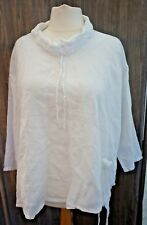 Made in Italy White Linen Fisherman's Top Lagenlook Plus Size  - Size 1