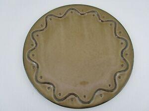 Pier 1 Pillar Candle Holder Ceramic Plate Brown Round