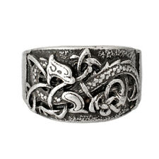 Viking Ring Dragon Triquetra Norse Nordic Celtic Knot Antique Silver