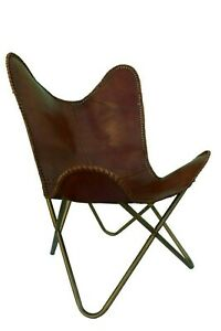 Vintage Chair Butterfly Made With Real Leather Brown Hide Sleeper Seat Lounge