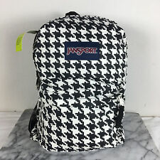 JanSport High Stakes Backpacks White Black Houndstooth School Bags Superbreak