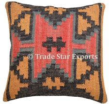 Handmade 18X18 Jute Cushion Cover Kilim Ethnic Pillows Vintage Decorative Shams