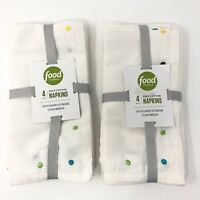 Food Network Embroidered Dot Napkins set of 8 napkins Ivory New