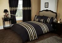 BLACK & GOLD COLOUR STYLISH LACE DIAMANTE DUVET COVER LUXURY BEAUTIFUL BEDDING