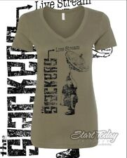 The SLACKERS Ltd Ed AUG 1 LIVESTREAM at ERNESTOS LADIES vneck T  L-XL-2XL GREEN
