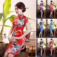 Vestito Donna Stretto Abito Moda Stand Colletto Stile Cinese Floreale Vintage