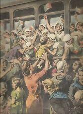 K0971 Bimbi su treno tra saluti di parenti e sventolio di bandierine - Stampa