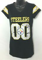 """Pittsburgh Steelers Women's Black T-Shirt with """"00"""" Distressed Graphic! Size M"""