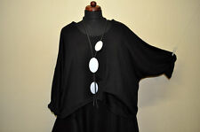 diseño Lagenlook Jersey Grande Refinado Doble negro 44,46,4,50,52,54,XXL,XXXL