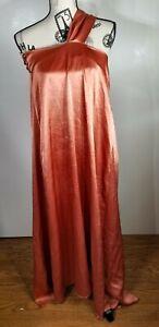 Nanushka Zena One-Shoulder Satin Midi Dress, Orange Size Small NWOT
