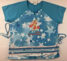 Strawberry Shortcake Scrub Top Size Medium Blue Ties Nursing Medical Uniform M