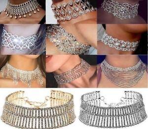 UK Noble Stylish Full Diamond Crystal Rhinestone Choker Collar Necklace Jewelry