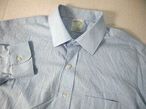 Brooks Brothers Mens Dress Shirt 16 1/2 35 Milano Solid Blue Supima Stretch
