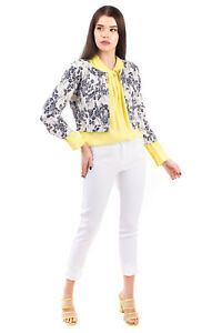 RRP €210 KAOS JEANS Jacquard Blazer Jacket Size M Floral Cropped Made in Italy