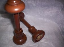 """2pc CURTAIN TWISTER FINIALS, 2.5"""" inlay POLE, 2.5"""" CROWN, Light BROWN. FRANCE."""