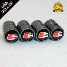 Black Chrome Car Wheel Tyre Tire Air Valve Caps Stem Cover With Audi S Emblem