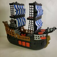 Fisher Price 2006 Mattel Imaginext Black & Red Pirate Ship Blue White Sails