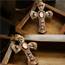 Pink Crystal Vintage Cross Pendant Diamond Sweater Chain Long Necklace presents