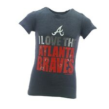 Atlanta Braves Official MLB Genuine Kids Youth Girls Size Sheer T-Shirt New Tags