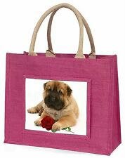 Shar Pei Dog with Red Rose Large Pink Shopping Bag Christmas Present, AD-SH2RBLP