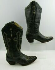 Ladies Corral Black / Cream Leather Pointed Toe Western Boots Size : 6.5 M