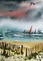 ACEO ATC original art painting ' Red Sails ' by Bill Lupton
