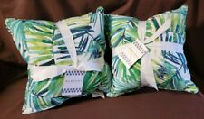 """2 - 2Pk Coastal Mineral Green Indoor/Outdoor 18"""" Filled Square Throw Pillows"""