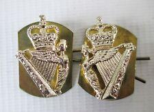 BRITISH ARMY STAYBRITE COLLAR BADGE PAIR - ROYAL IRISH REGIMENT