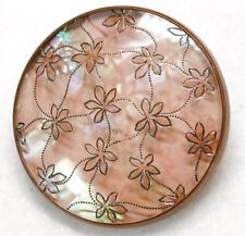 Antique BUTTON 19TH C Glass MOUNTED in BRASS PEARL SHELL Background RARE!