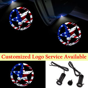 2x USA Flag Star Logo Car Door LED Lights Step Ghost Shadow Laser Projectors