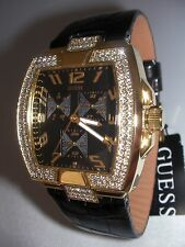NEW GUESS WOMEN'S WATCH GLOSSY BLACK LEATHER QUARTZ