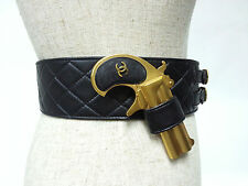 "CHANEL Vintage Leather Black Quilted Gold Trim 93A Gun Belt 65"" Accessories RARE"