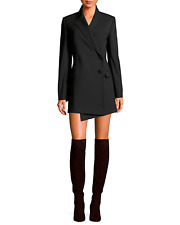 Helmut Lang Black Compact Wool Twill Double Breasted Size 2 Button Up Blazer