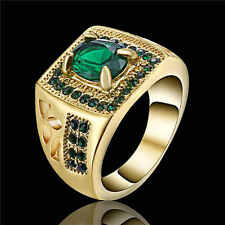 New Brand Emerald 18K yellow Gold Filled Lady's Engagement Rings Size Gift Siz 6
