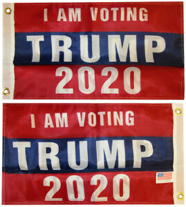 """I Am Voting Trump 2020 Double Sided 150D Woven Poly Nylon 12""""x18"""" Flag Grommets"""