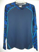 Under Armour Men's Heat Gear Combine Shirt Xl Multi Blue Long Sleeve Loose Euc