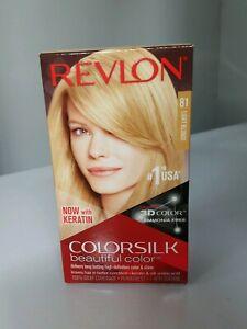 Revlon Colorsilk #81 Light Blonde Permanent Hair Dye 3D Color Gel with Keratin