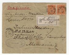 CHILE 1894 Registered cover San Fernando to Germany roulet 10c pair