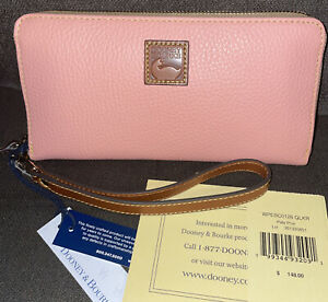 Dooney & Bourke Pebble Collection Large Zip Around Wristlet Pale Pink MSRP$148👛