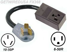 WELDER 3-PRONG 6-50R RECEPTACLE to 3-PIN 10-50P OVEN PLUG POWER CORD ADAPTER