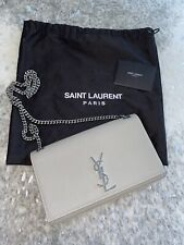 1990$ YSL KATE Saint Laurent Gray Grain Leather Bag Silver Chain Medium