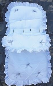 Baby Cosytoes/Footmuff  white/silver pin tuck