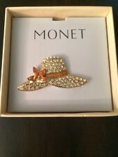 Vintage Gold Tone Signed Monet Honey Marquise Clear Rhinestone Hat Brooch Pin