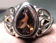Sterling 925 silver everyday cut smoky quartz ring UK Q½-¾/US 8.5-8.75