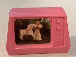 Vintage 1985 Original Barbie Pink Molded TV